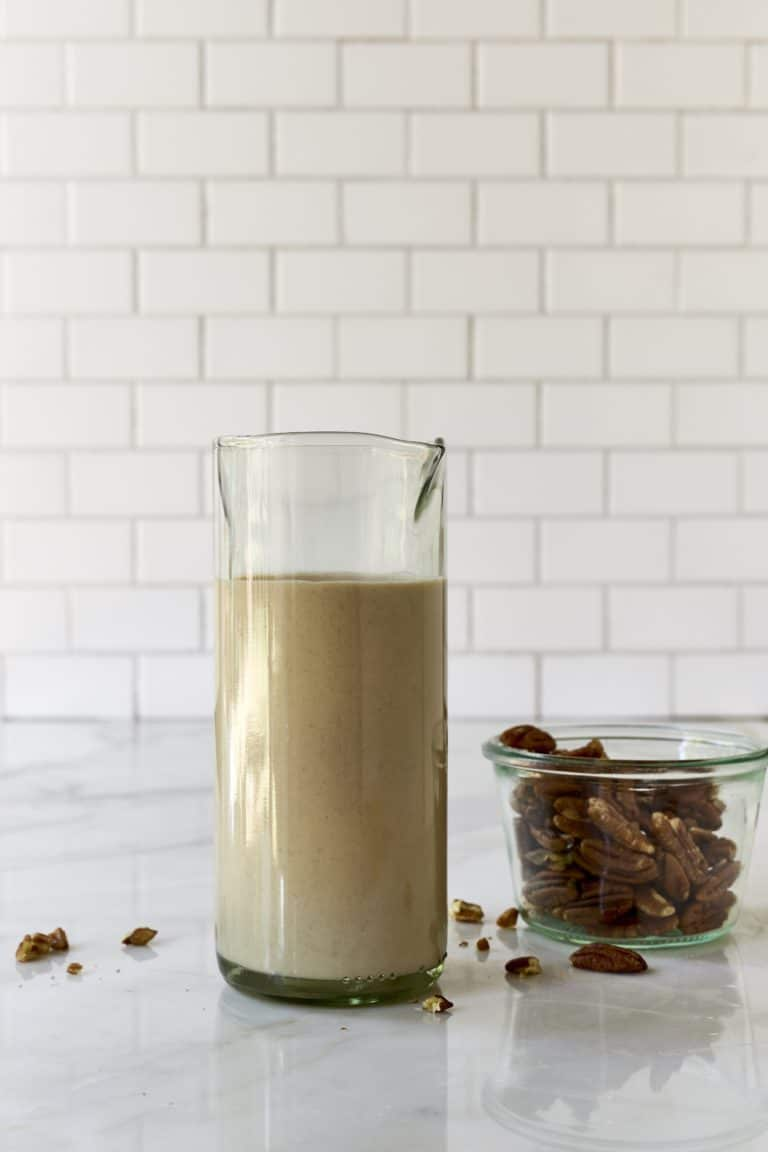 Maple Pecan Milk in a jug