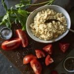 Raw Vegan Ricotta Cheese with tomatoes and herbs