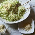 Vegan Brussels Sprout Slaw with Cabbage and Watermelon Seeds