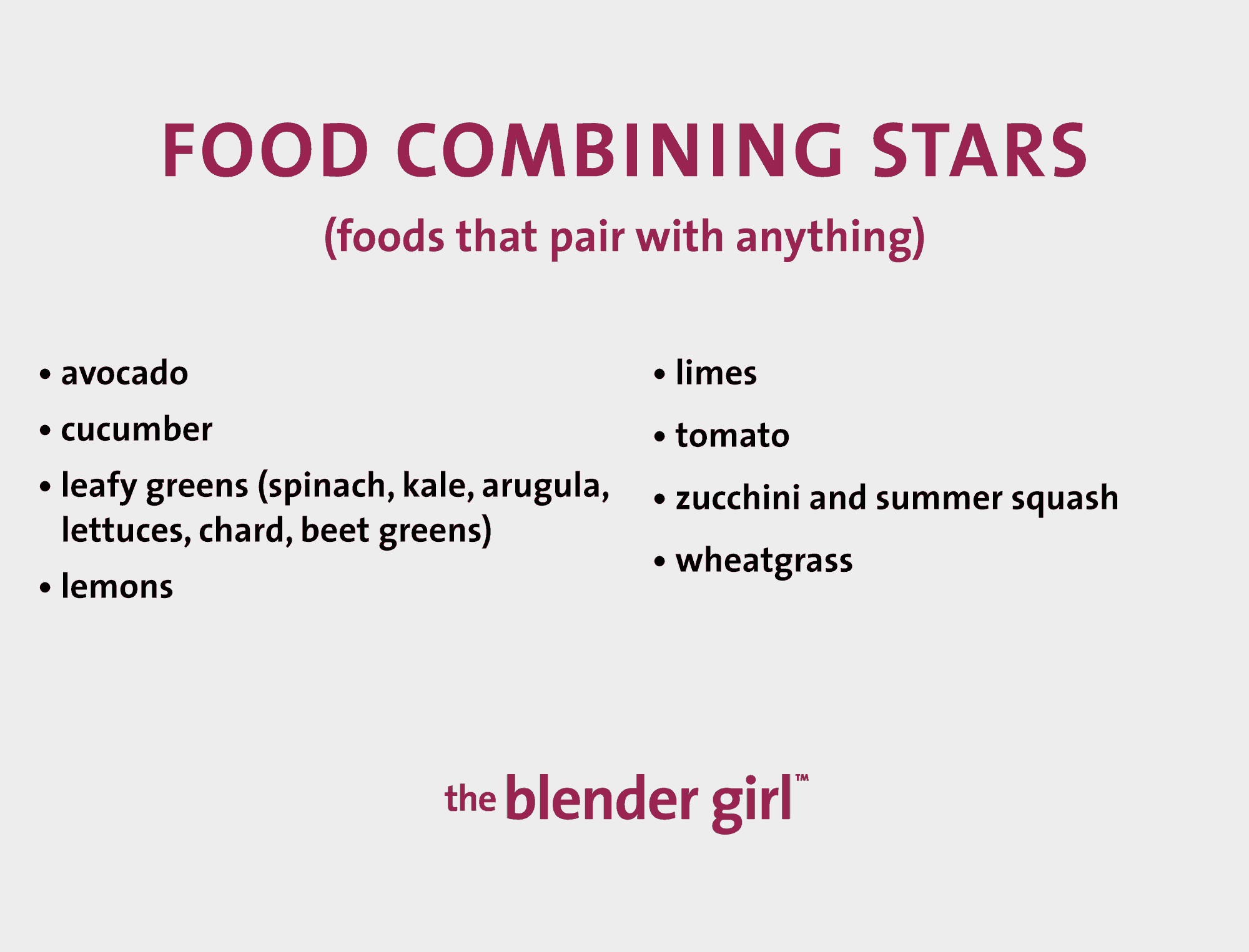 Food Combining - A Guide With Food Combining Charts - The Blender Girl