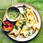 Yellow Bean and Spinach Dosas